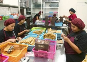 Packaging chocolate bars at a Beemster factory in Asia