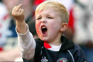 A young Feyenoord fan expressing his affection for Ajax